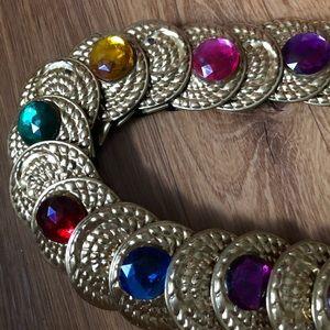 Vintage gold & gems elastic belt
